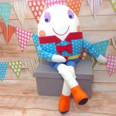 Dumpty, Humpty Dumpty Toy, Humpty Dumpty Doll, Rhyme, Story Book Toy This Humpty Dumpty is a soft toy and isn't afraid of great falls! Ideal gift for chil. Nursery Room Decor, Nursery Rhymes, Sewing Stuffed Animals, Dinosaur Stuffed Animal, Traditional Toys, Humpty Dumpty, Thoughtful Gifts, Vintage Toys, Baby Items