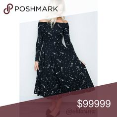 🔖Coming Soon 🔖AJ Camden Dress AJ is at it again with this beautifully styled dress. Can be worn off shoulder or up. The star light design can be a great formal dress or a casual every day dress. My Amelia James Dresses Midi
