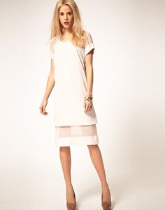 white sheath dress with underskirt of batiste or chiffon