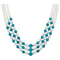 Pearl & Turquoise Cascade Necklace - The Danbury Mint $149