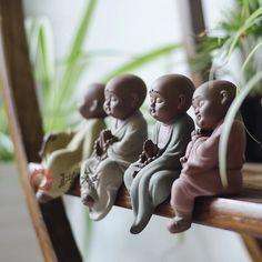 包郵陶瓷佛像紫砂小沙彌家居工藝品擺件小和尚禮品悟道用品德化