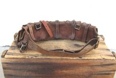 Vintage WWI WWII Swedish Mauser Leather Ammo Belt by Trustfund21