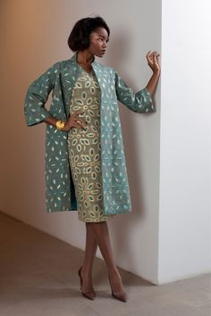 sheath and coat in ivory and teal with exploded eyelet pattern | Fall 2013 ready-to-wear | Barbara Tfank