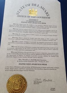 Delaware Governor Jack Markell's proclamation recognizing Diaper Need Awareness Week (Sept. 28 - Oct. 4, 2015) #DiaperNeed www.diaperneed.org