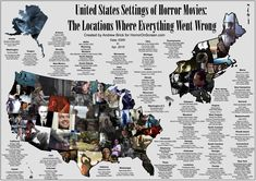 "US Map of Horror Movies: Around 250 horror movies (and horror themed thrillers) for 50 States plus Washington D. Says Mikey Bustos """"We… Best Horror Movies List, Scary Movies, Movie To Watch List, Slasher Movies, United States Map, Best Horrors, Us Map, Fairy Tales, The Unit"