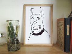 Le Danois. Illustration portrait de chien à l'encre de chine.  Illustration, portrait, chien, encre, minimaliste.