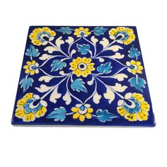 Beautiful Yellow Flowers Blue Jaipur Tile Trivet Hot Pad Jaipur pottery is recognized by the beautiful blue dye used to color the clay. Foam feet on bottom protect your table. Blue Pottery, Pottery Bowls, Indian Folk Art, Bowl Designs, To Color, Hot Pads, Jaipur, Kitchen Organization, Art And Architecture