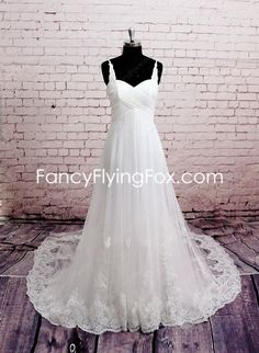 Spaghetti Straps Empire Tulle Maternity Wedding Dress With Lace