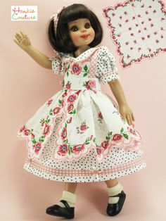 A new doll dress for 14-inch Betsy McCall and Lark by Helen Kish ♡ One photo shows the vintage handkerchief I used to create it! The hankie-apron can be worn alone, as a sun dress. Pink and red flowers with blue centers! Darling dots, white on peach, black on white! Scalloped edges, buttons, bows and rosettes! All by #HankieCouture, sold on Ebay in February 2015 #doll #BetsyMcCall #Tonner #handmade #sewing #hanky #floral