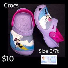 Crocs Toddler Girl Size 6/7T Minnie Mouse Shoes $10 https://baby-girl-heaven.myshopify.com/products/crocs-infant-toddler-girls-minnie-mouse-making-waves-summer-shoes-size-6-7t-10