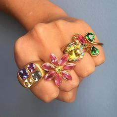 MARIE-HELENE DE TAILLAC (@mariehelenedetaillac) on Instagram: Happy hand Beauties in our New York store #nextdelivery #mhtny #rings #flowers #stone…""