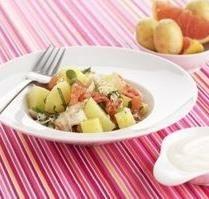 Salade de pommes de terre primeurs tièdes au crabe, ananas et pamplemousse