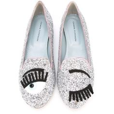 Chiara Ferragni Flirting Glitter Slippers (€180) ❤ liked on Polyvore featuring shoes and slippers