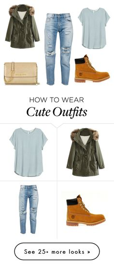 """""""Cute school outfit"""" by jane888 on Polyvore featuring Levi's, WithChic, Michael Kors and Timberland"""