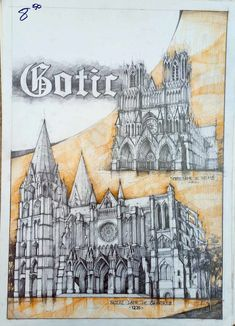 History of Architecture in Drawings Gothic story. The history of architecture in drawings. By Vlad Bucur Gothic Architecture Drawing, Cathedral Architecture, Architecture Graphics, Concept Architecture, Historical Architecture, Ancient Architecture, Architecture Details, Isometric Drawing, Art Design