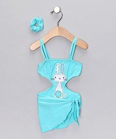 Take a look at this Turquoise Bunny One-Piece & Ponytail Holder by Sweet & Soft: Swimwear on #zulily today!