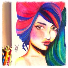 A colorful portrait with colored pencils.  By Alaa W. Deiry