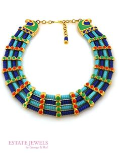 Important Hattie Carnegie Egyptian Revival Collar, Ca. 1963 at Estate Jewels by George & Raf - NYC