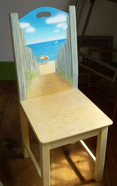 Beach Scene on Wood Chair LOVE this Directions on how to make it too. Beach Scene on Wood Chair LOVE this Directions on how to make it too. Hand Painted Chairs, Funky Painted Furniture, Paint Furniture, Furniture Makeover, Cool Furniture, Painted Tables, Furniture Design, Decoupage Furniture, Chair Makeover
