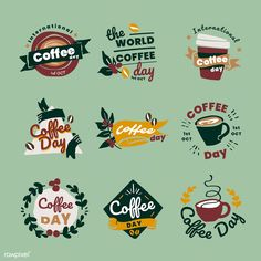 International coffee day logo set vector | premium image by rawpixel.com / TK Vector Can, Vector Free, Open Source Fonts, Family Gift Baskets, Coffee Shop Logo, International Coffee, Trophy Design, Cafe Logo, Caffeine Addiction