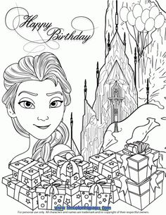 Elsa Ice Castle Gifts Coloring Page