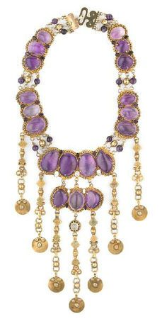 Tony Duquette (American, 1914-1999, 'Symbolizes the Ability to Trasmute Pain Into Pleasure', 1990s. An amethyst, zircon, moonstone and vermeil necklace, signed Tony Duquette. Sold for $7,930
