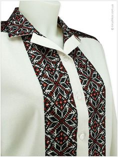 Embroidered shirt Cross Stitch Designs, Cross Stitch Patterns, Embroidery On Clothes, Ethnic Outfits, Crochet Tablecloth, African Culture, Beautiful Blouses, My Wardrobe, Embroidery Designs