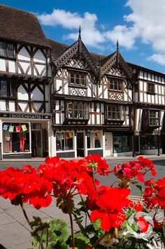 Flowers and half-timbered buildings in Broad Street, Ludlow, Shropshire, England