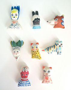 Miniature folk doll hand painted display art by JessQuinnSmallArt