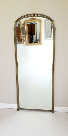1920s rare old French brass framed dressing mirror from a Galerie Lafayette department store