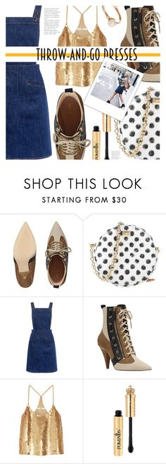 """60 Second Style: Throw-and-Go Dresses"" by eclectic-chic ❤ liked on Polyvore featuring Nine West, Dolce&Gabbana, M.i.h Jeans, TIBI, Sequins, overalls, DenimDress, ankleboots and easydresses"
