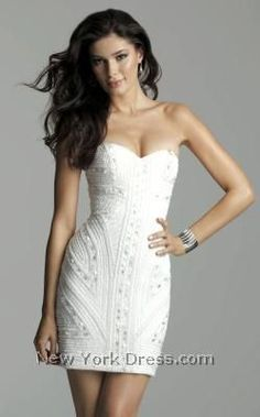 Fresh and sexy, this vivacious cocktail dress by Clarisse 2035 is anything but ordinary. This strapless, body conscious style has a sweetheart neckline and Long Mermaid Dress, Mermaid Dresses, Rehearsal Dinner Outfits, Bodycon Fashion, Bodycon Style, White Cocktail Dress, White Dress, Rhinestone Dress, Perfect Prom Dress