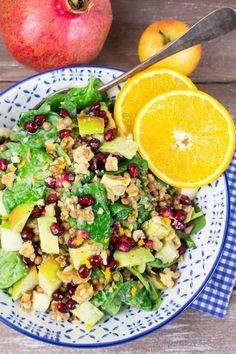 Linsensalat mit Spinat und Granatapfel