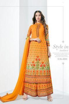 Cotton Salwar Kameez, Salwar Suits, Kurti, Collections Catalog, Cotton Suit, Kurta Designs, Cotton Dresses, Orange Color, Print Design