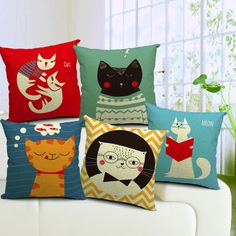 Brighten up you sofa, or your bed, with these quirky cartoon cat cushions, choose from 5 different designs. Size - 45cmx45cm Fabric - high quality washable heavy cotton. Please note, this product does not include a pillow/cushion, just the cover.   Please note: this item is coming from the Far East, so shipping typically takes between 15-21 days to the U.S, Canada, Europe, Australia and New Zealand. for this reason we offer you free shipping to compensate for the timescale, we appreciate…
