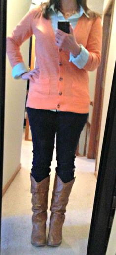 Spring Style Me Challenge Day 2 - My outfit ~X-tremely V #mommystyle #GYPOstyleme  boyfriend cardigan, skinny cords, cognac boots