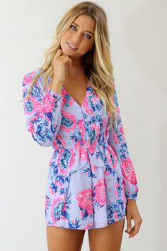 romper floral blue pink pretty spring long sleeves v neck summer Mode Style, Style Me, Spring Summer Fashion, Spring Outfits, Summer 2015, Summer Wear, Night Outfits, Actrices Sexy, Floral Romper