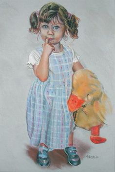 Girl with her duck - pastels