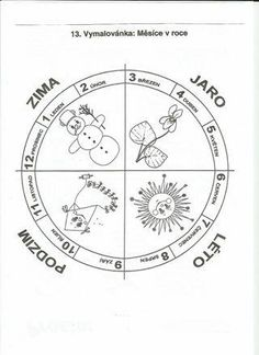 Omalovánka Month Weather, Weather For Kids, Seasons Of The Year, Four Seasons, Preschool Themes, Compass Tattoo, Teaching Kids, Worksheets, Coloring Pages