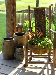 Love everything about this. The chair planter and the crock. Primitive Homes, Country Primitive, Primitive Decor, Primitive Curtains, Primitive Bedding, Primitive Fall, Primitive Snowmen, Primitive Furniture, Primitive Christmas