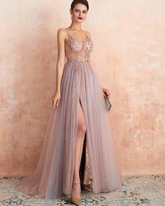 Spaghetti Straps Beading Bodice Tulle Evening Dress with Side Slit Senior Prom Dresses, Pretty Prom Dresses, Pink Prom Dresses, Gala Dresses, Event Dresses, Cute Dresses, Beautiful Dresses, Tulle Bridesmaid Dress, Unusual Dresses
