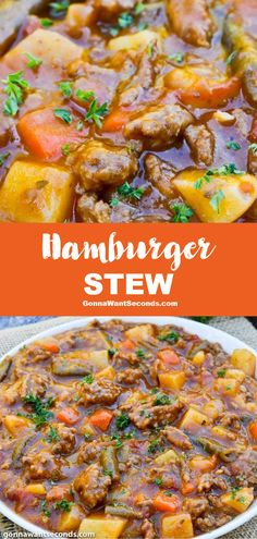Hamburger Stew (One Pot Comfort Food!) - - Hamburger stew has plenty of wholesome veggies and rich layers of bold flavor making it the ideal cold-weather recipe to satisfy hearty appetites. Beef Recipes, Soup Recipes, Cooking Recipes, Hamburger Crockpot Recipes, Recipes Using Hamburger, Dinner Recipes, Steak And Potato Soup, Creamy Chicken And Dumplings, Recipes Using Rotisserie Chicken