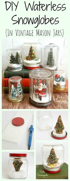 DIY Vintage Waterless Snowglobes using antique mason jars and vintage bottle brush trees by Sadie Seasongoods / www.sadieseasongoods.com