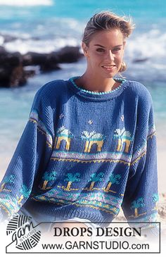 """DROPS 30-13 - DROPS jumper with palm trees in """"Paris. Size S – L. - Free pattern by DROPS Design"""