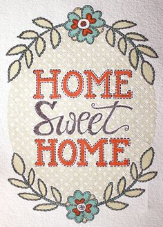 Home Sweet Home Letterpress Print. $24.00, via Etsy. -cute stitchery!