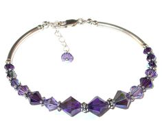 PURPLE 2-tone Tanzanite Crystal Bracelet Sterling Silver Swarovski Elements by CharminglyYoursToo on Etsy