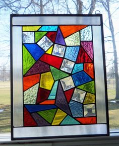 Stained Glass- Free Shipping- Multi-Color and Clear Bevels-Abstract- OOAK-Window Panel by ClearViewGlass on Etsy