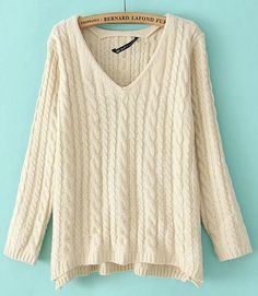 Beige V-neck Long Sleeve Loose Cable Knitting Sweater US$31.50; Just got this, it's too perfect!