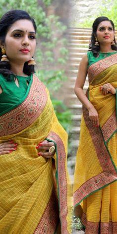 1 new message Fancy Sarees, Party Wear Sarees, Pearl Work Saree, Checks Saree, Lace Saree, Indian Fashion Dresses, Soft Silk Sarees, Yellow Fabric, Blouse Designs