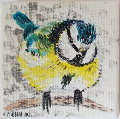 Blue Tit / original painting on canvas by HelenKurtidu on Etsy, €20.00